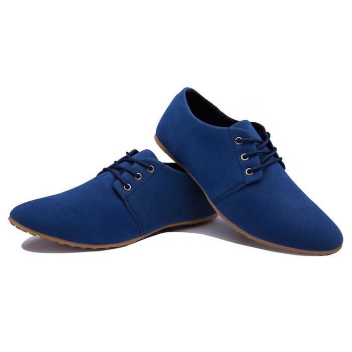 à Cuir Pointu Bateau Robe Minetom Top Mariée D'affaires Lacets Suede Casual Chaussures de Low Hommes Bout W1BSFB