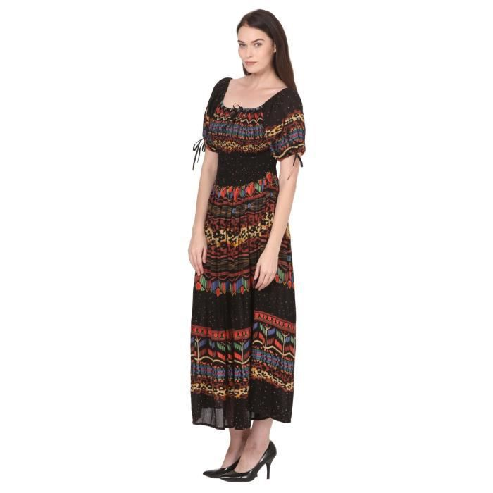 Viscose pleine Stretchable Pure femmes 52 pouces Elasticité Party Imprimé Long - Casual Wear Maxi Dress 1W1RXN Taille-32
