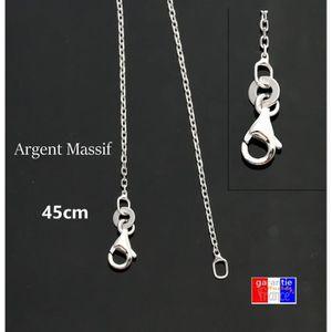 CHAINE DE COU SEULE Petite chaine en argent massif rhodié pour pendent