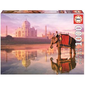 PUZZLE EDUCA Puzzle 1000 Pièces - Elephant Et Taj Mahal