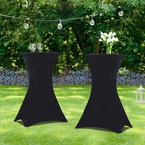 MANGE-DEBOUT Lot de 2 tables hautes pliantes + 2 housses noires