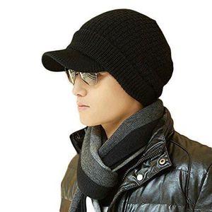 5f62d826d091 CASQUETTE Bonnet bonnet de visière d hiver noir pour les ...