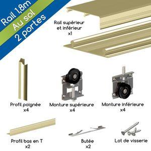 kit profil pour porte de placard coulissante Kit ARES3 aluminium anodisé or pour 2 portes de placard coulissantes 16 mm  - rail 1,8 m - 70 kg
