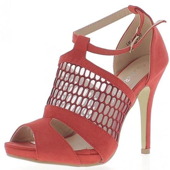 Escarpins plateforme ouverts dentelle rouges à talons fins de 11 cm aspect daim Rouge Rouge - Achat / Vente escarpin