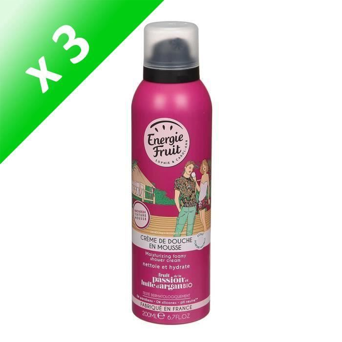 ENERGIE FRUITCrème de douche en mousse FRUIT de la Passion et Huile d'Argan - 200 ml (Lot de 3)