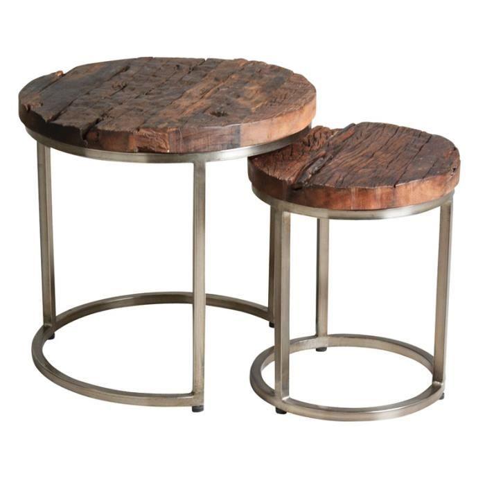 Set 2 Tables Gigognes En Acier Et Bois Massif Achat Vente Table
