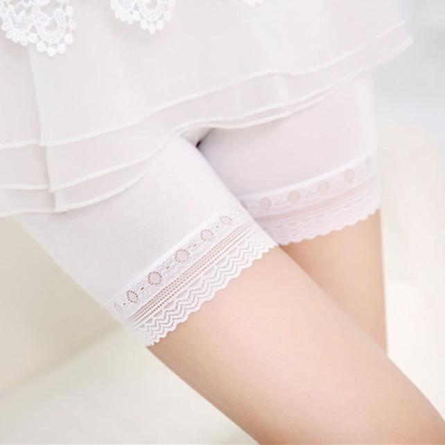 4e89f0af16 Les femmes dentelle jupes étagées jupe courte sous des pantalons de ...