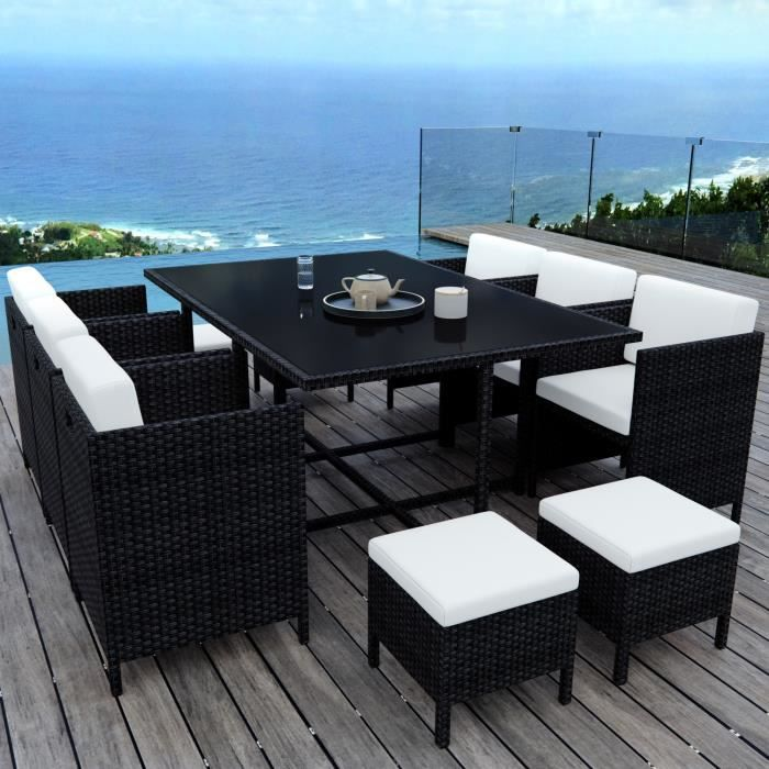 Ensemble table jardin resine tresse - Achat / Vente pas cher