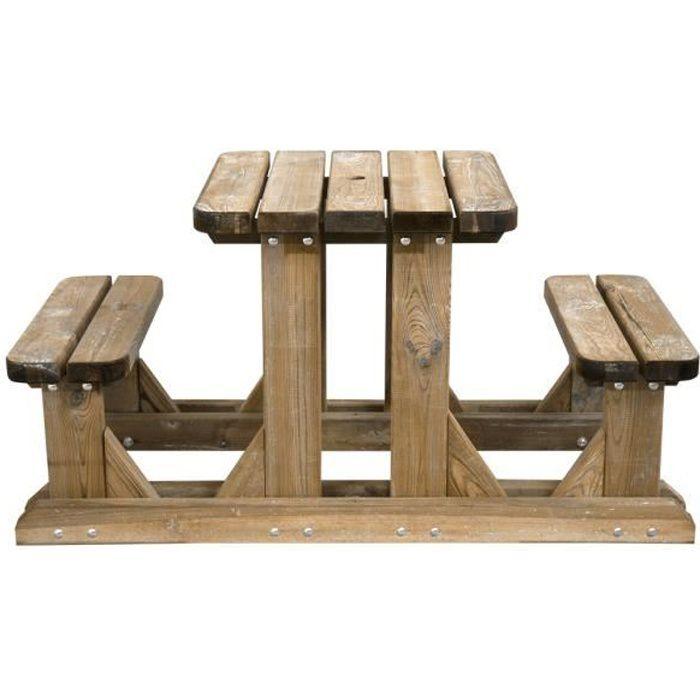 Table pique-nique en bois duo - Achat / Vente salon de jardin Table ...