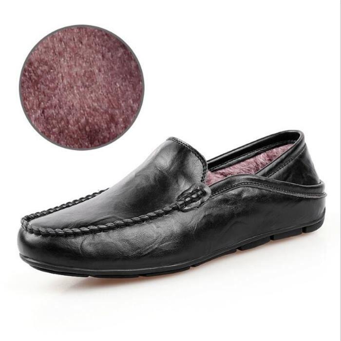 Chaussure Homme Hiver Nouvelle Mode Qualité Supérieure Chaudes Cuir Doublé De Fourrure Mocassins Conduite Confortable