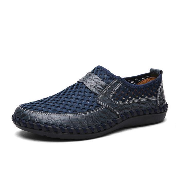 Chaussure Homme Été Qualité Supérieure Respirant Ultra Léger Slip On Appartements Antidérapant Confortable Bleu 44