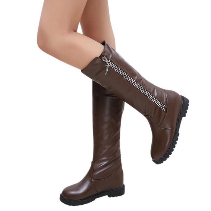 Napoulen®Mode Hiver botte cuissardes haute sur la genou augmenté talons plats pour femmes Marron-LMH71103552BW