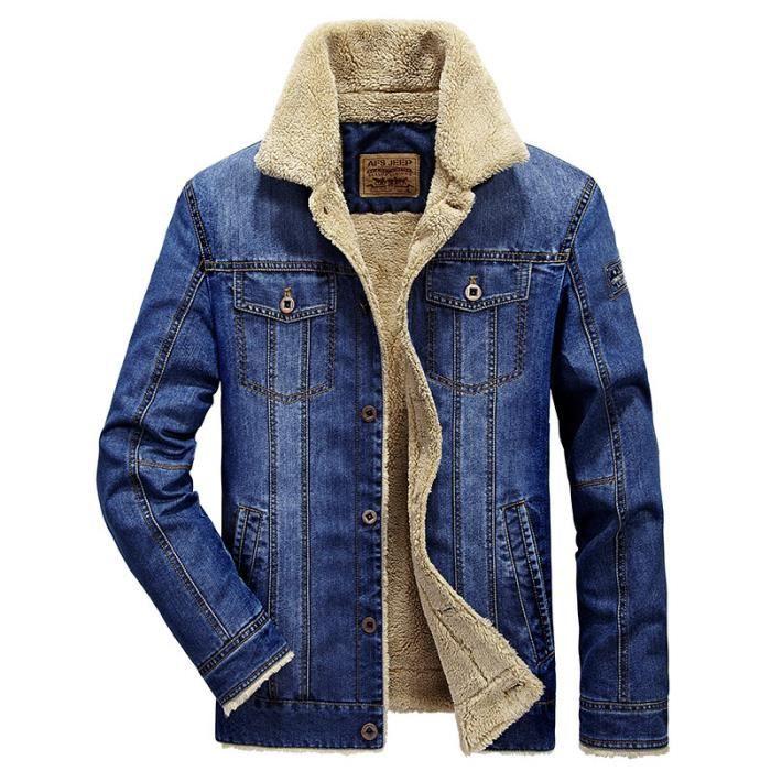 Veste Homme en jean Marque Luxe a la mode de plus de velours