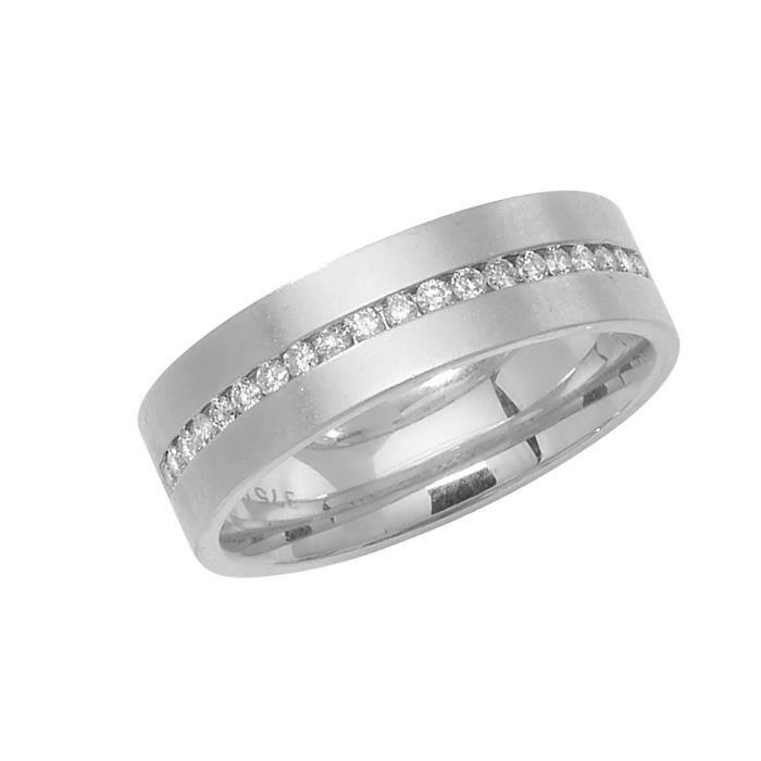 Bague de Mariage-Alliance Femme Eternité 1mm Plat-Confort Or Blanc 375-1000 et Diamant Brillant 0.31 Carat H - I1 I2 30564