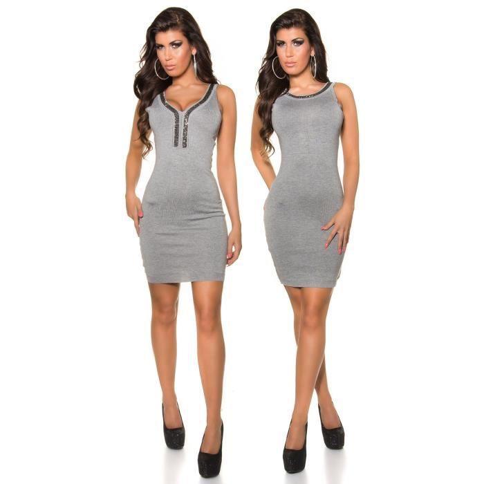 robe debardeur grise dos nu droite moulante a mettre dans les deux sens