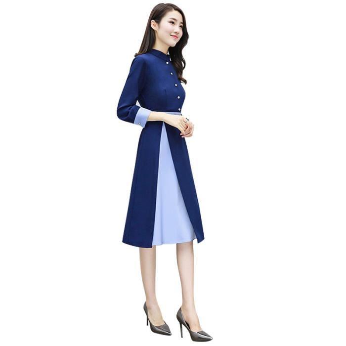 Robe Femme Printemps manches longues bouton slim fit Tempérament mode Bleu SIMPLE FLAVOR