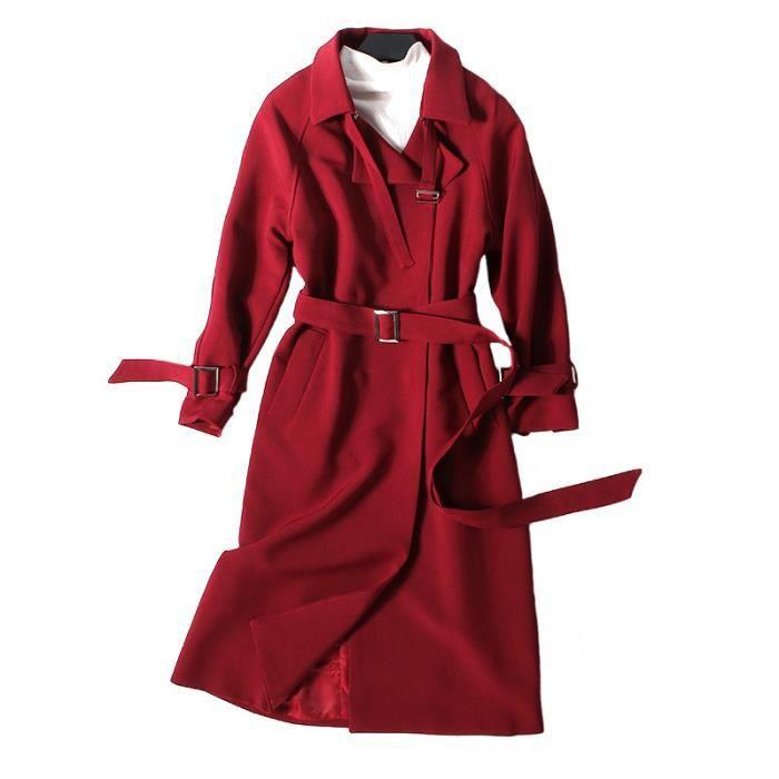 Trench femme longue veste col à revers manche longue avec lacet ceinture  boutonnages slim fit grande taille S--XXL—Rouge d14e7506c87