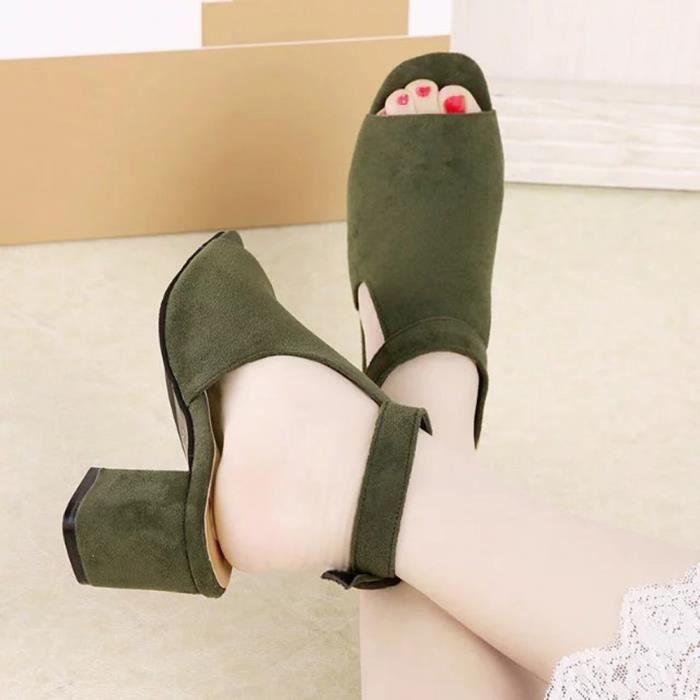 Chaussures Peu Femme Sandale Ouvert noir Talons Bout Hauts Profondes Minetom marron Eté À Suède Bouche Sandales Vert qOdpFfwX