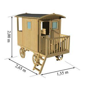 cabane bois enfant exterieur achat vente jeux et jouets pas chers. Black Bedroom Furniture Sets. Home Design Ideas