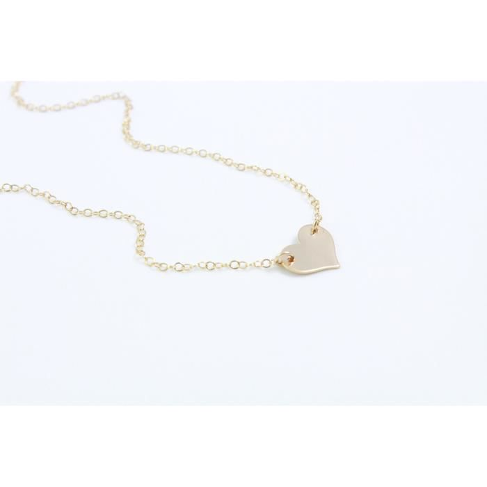 Womens Small Heart Necklace, Dainty Heart In 14k Gold Fill, Layered Gold Necklace, Delicate Pendan EF0ET