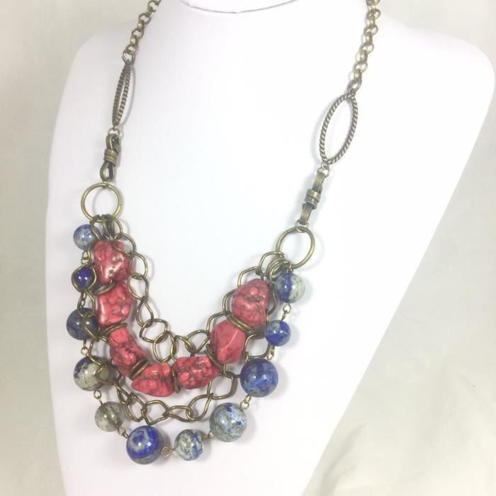 Womens Chunky Howlite And Lapis Multistrand Necklace LTBSG