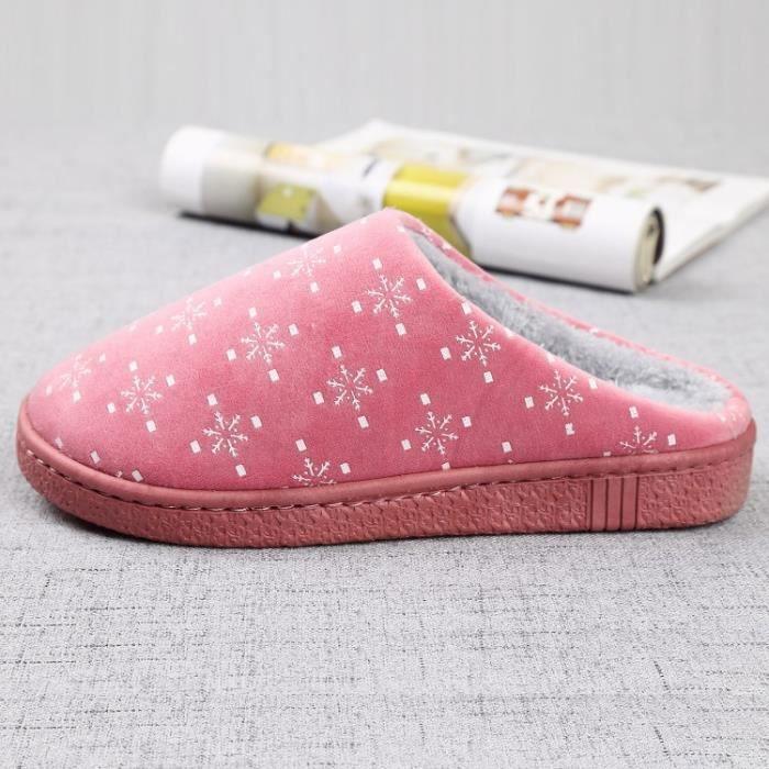 4 couleurs nouvelles pantoufles en peluche maison automne chaud et l'hiver doux mode laine dames intérieur \ chaussures fQB73