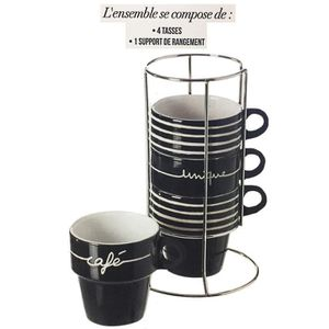 BOL - MUG - MAZAGRAN 4 TASSE CAFE SUPPORT METAL UNIQUE NOIR MUG EMPILAB
