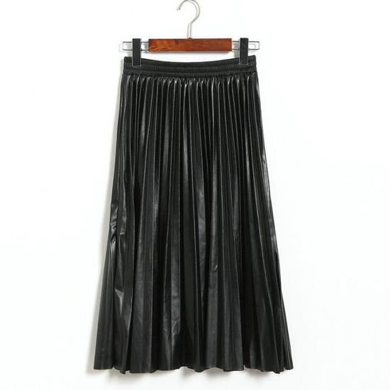 82929008d01b99 Jupe Plissée en cuir Femme d'Hiver Mi-Longue Taille Haute Mode A ...