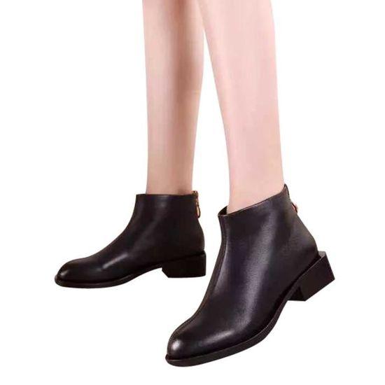 Place avec des chaussures simples tête carrée Martin Bottes de Bottines femme Noir Noir - Achat / Vente botte