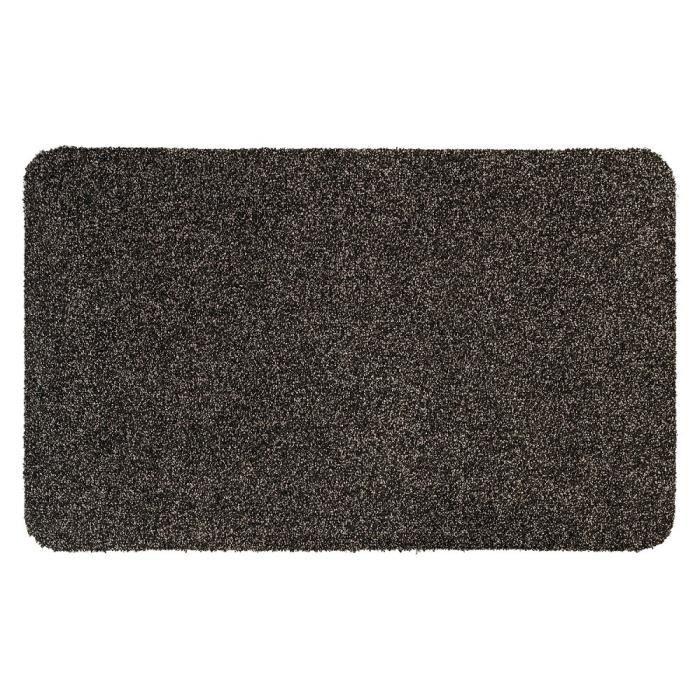 Couleur gris taupe mouchetée de noir - Lavable 30° - 100% polyester - 50x80 cm - Usage intérieurTAPIS D'ENTREE - TAPIS DE SEUIL