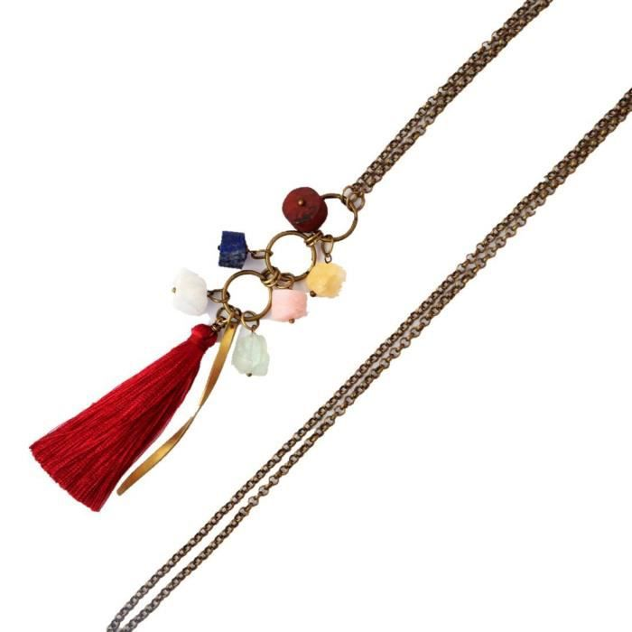 Womens Multi-colored Opal Crystal Coral Gemstone Tassels Designers Necklace ForQHAT2