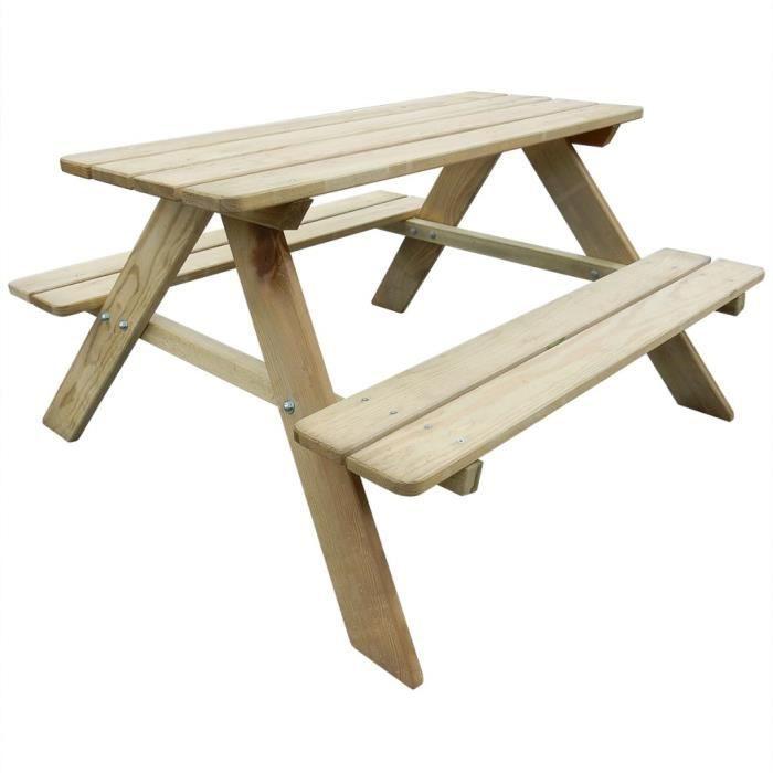 P86 Table de pique-nique en bois pour enfants 89 x 89,6 x 50,8 cm ...