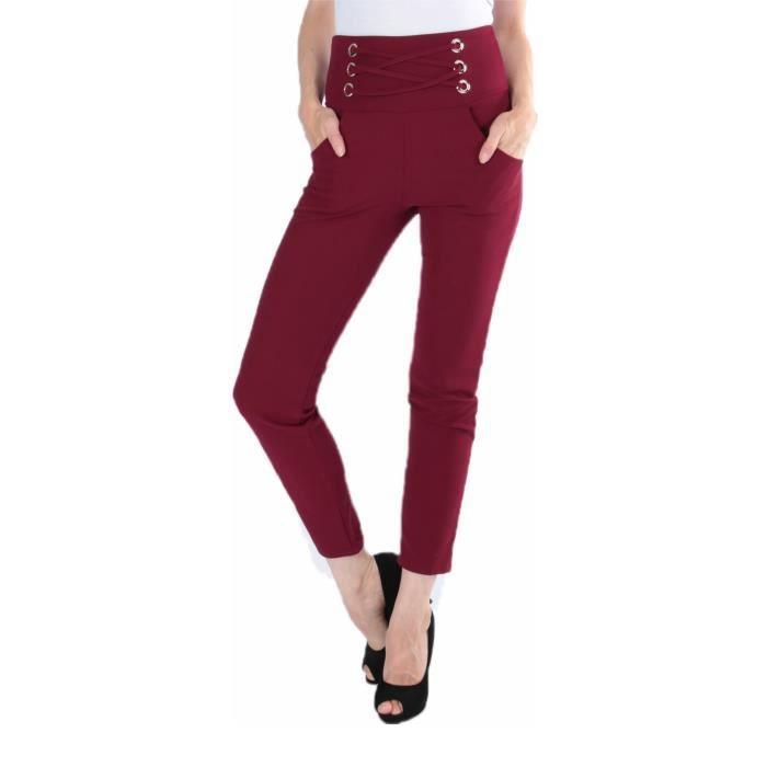 24a3c637799c5 dmarkevous - Pantalon cigarette Bordeaux Femme avec poches, liens croisés  devant et zip derrière - (Unique - bordeaux)