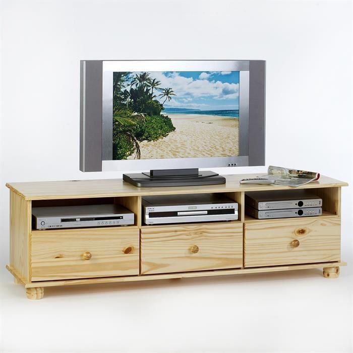 Meuble tv bern pin massif vernis naturel achat vente for Meuble tv pin massif