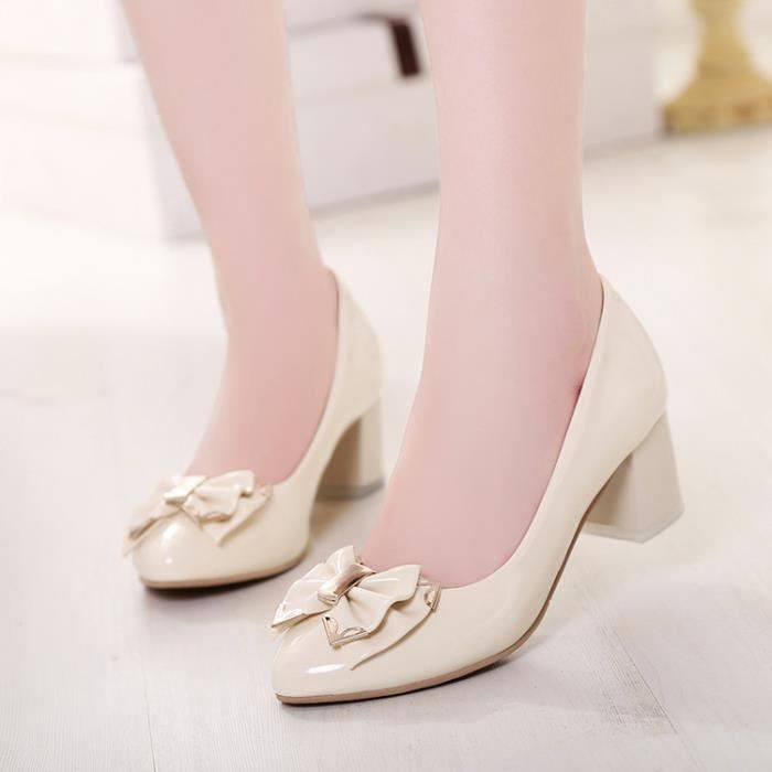 talons hauts-Pure Color Heel Thick Women Ankle ... H21YgsE4r