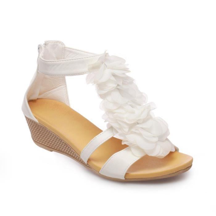 Sandales compensées avec froufrous blanc