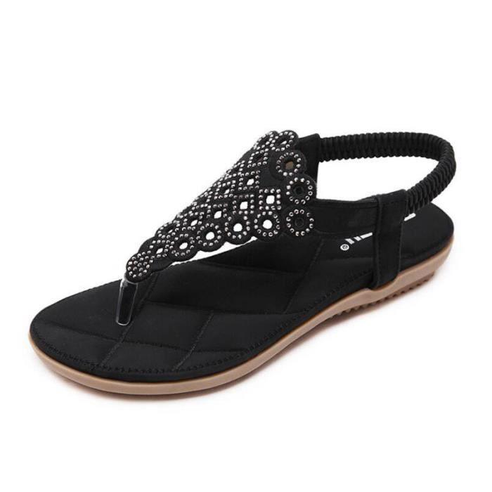 Sandales Femme Nu-pieds été Compensé casuel été Rétro de Couleur Noir c9hkPrqg