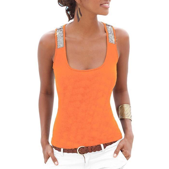 39e2692fea433 Sexy Débardeur avec Paillettes Femme Top Débardeur Gilet Orange ...