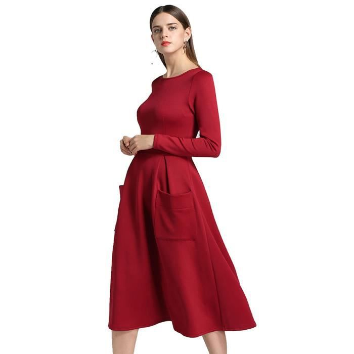 Benjanies®Femmes manches longues ourlet Loose Classic poches Partie zip robes ROUGE_XMM8116921