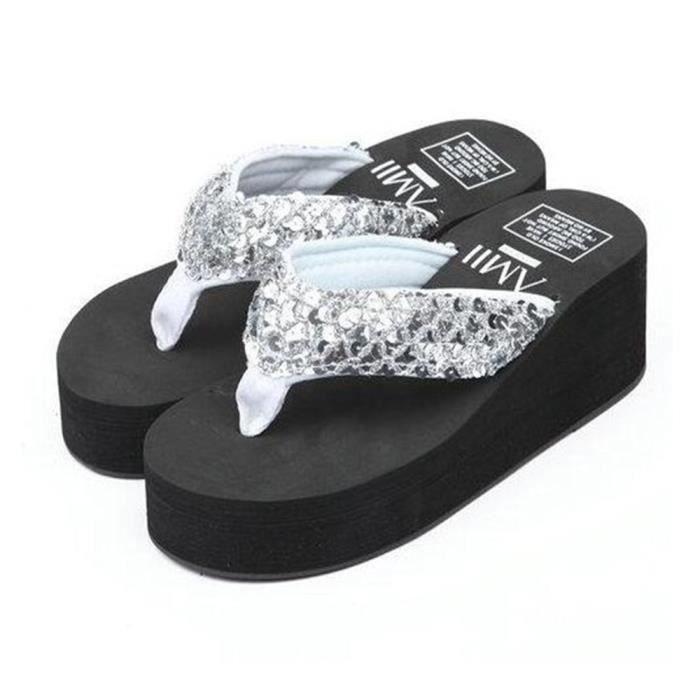 Chaussures Tongs Femme Talons hauts Ete Anti-Glissement Pantoufle Salle De Bain Sandales Pantoufle Femmes Pantoufle éTé Plus b0JbQlpa