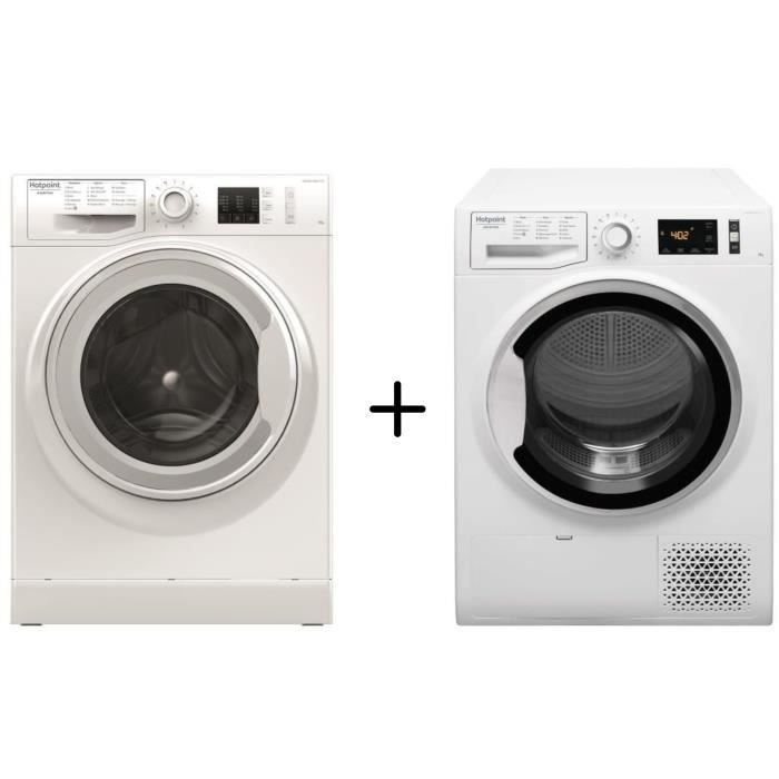 HOTPOINT NM10823WFR - Lave-linge frontal - 8 kg - A+++ - Blanc + HOTPOINT - NTM1182SKFR - Sèche ling