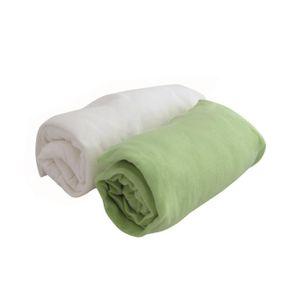 DRAP HOUSSE DOUX NID Lot de 2 draps housse Blanc/anis 70x140 c