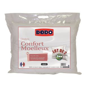 OREILLER DODO Lot de 2 oreillers Confort Moelleux - 45x70 c