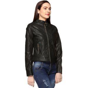 BLOUSON - VESTE Faux Veste en cuir pour femme P9Z49 Taille-34