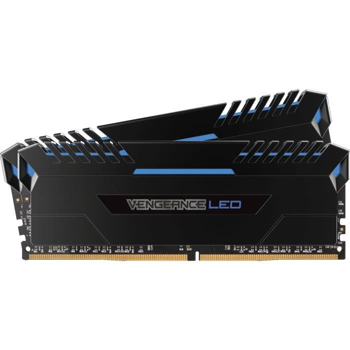 CORSAIR Mémoire PC DDR4 - Vengeance LED 32 Go (2 x 16 Go) - 3000 MHz - CAS 15 - LED Bleues (CMU32GX4M2C3000C15B)