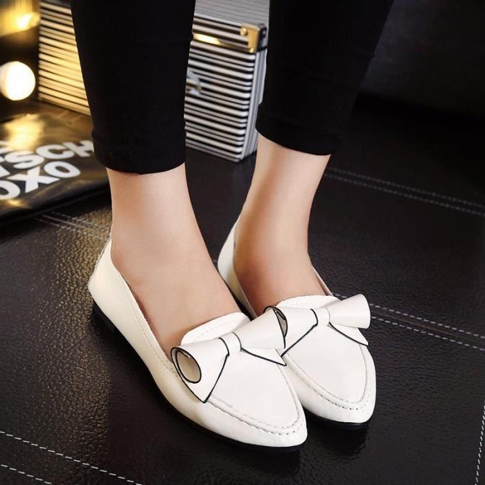 5 - bow a plat peu bouche chaussures plates avec trompette fleur de chaussures.