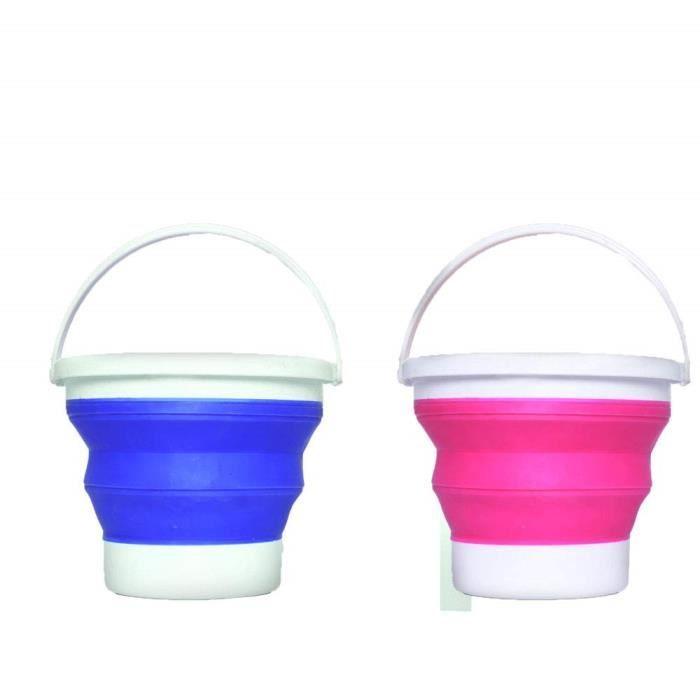 Litrelot 2 5 Pliable Plastique De Silicone 2 Seaux Seau Multi Usages Pliables ZkPXuTwOi