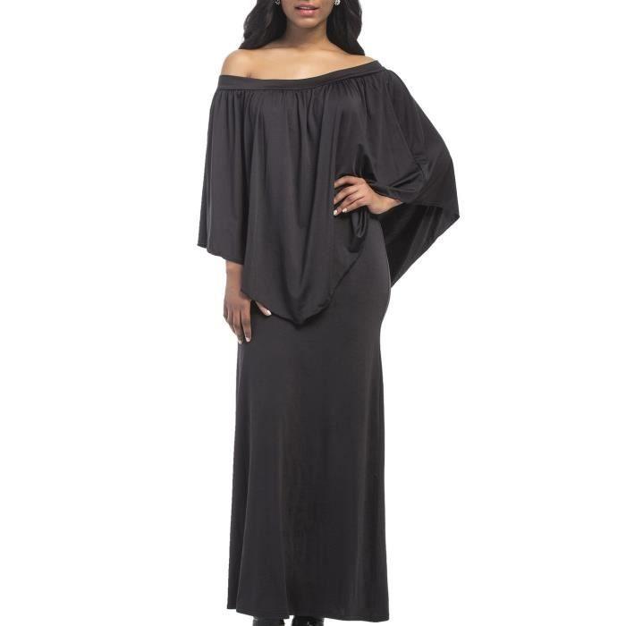 Noir Robe Femme Longue de Cocktail Club Col Bateau Sexy épaule Nu Manche Longue à Volant M-3XL Grande Taille