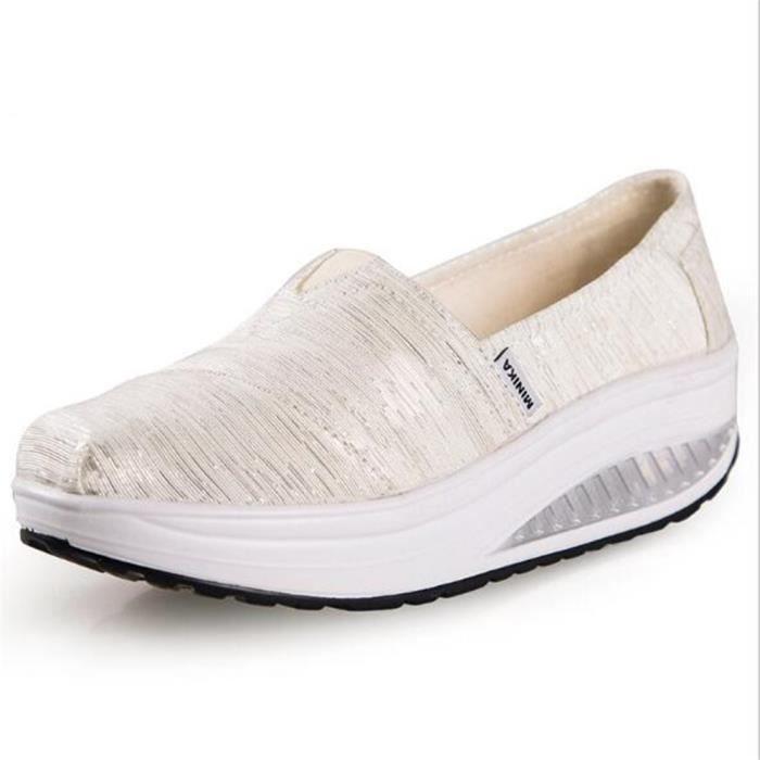 chaussure femmes Nouvelle Mode Moccasin plates à fond épais Marque De Luxe Loafer femme hauteur croissante Grande Taille 35