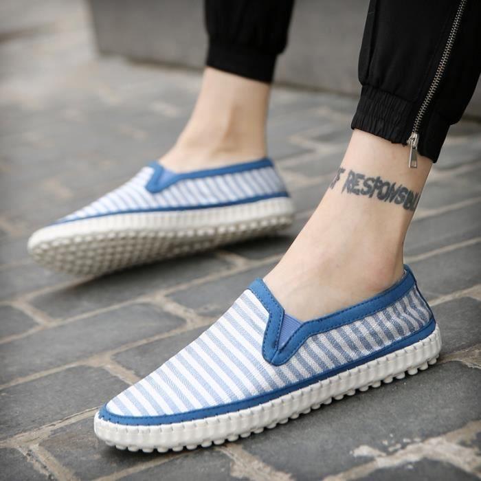 Mode Chaussures de toile Hommes Slip motif rayé sur Respirant plat Homme Mocassins Chaussures de marche souples Casualbleu43,bleu43